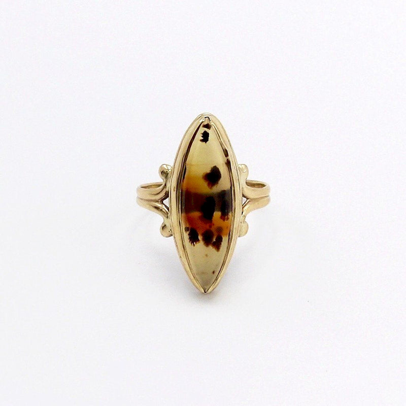 Victorian 10K Gold Spotted Banded Agate Ring Ring Kirsten's Corner Jewelry
