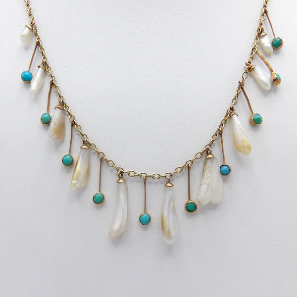 Edwardian Mississippi River Pearl and Turquoise 9K Gold Necklace - Kirsten's Corner Jewelry