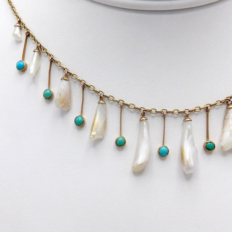 Edwardian Mississippi River Pearl and Turquoise 9K Gold Necklace Necklace Kirsten's Corner Jewelry