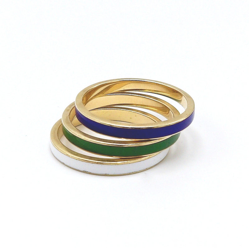 1960s White, Blue and Green Enamel 14K Gold Ring Trio Ring Kirsten's Corner Jewelry