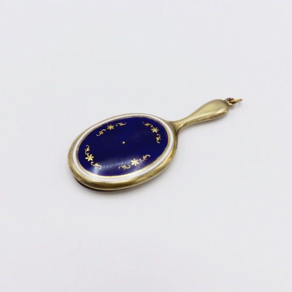 Art Deco Sterling Silver and Enamel Handheld Mirror Pendant Pendant Kirsten's Corner Jewelry