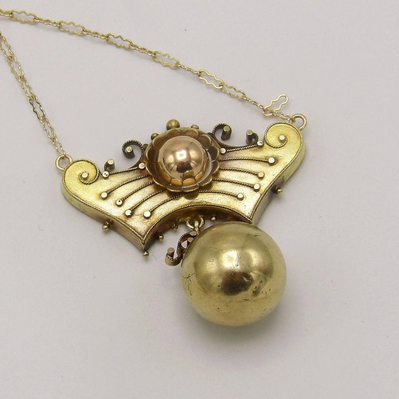 Exquisite Rose & Yellow Gold, Etruscan Revival Necklace Necklace Kirsten's Corner Jewelry