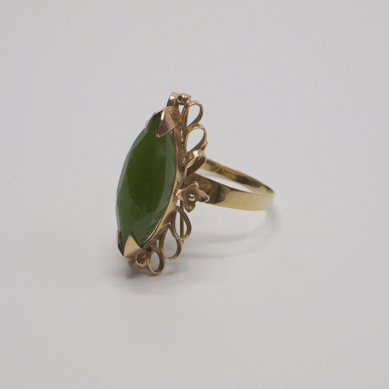 Faceted Nephrite Jade in 14K Rose Gold Ring Kirsten's Corner Jewelry