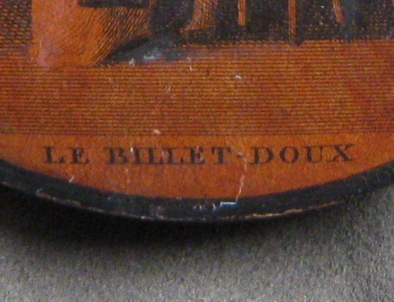 "French Papier Mache Snuff Box ""Le Billet Doux,"" circa 1810 Box Kirsten's Corner Jewelry"
