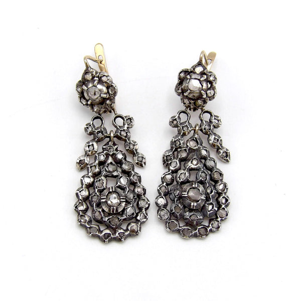 Georgian Silver Front Gold Back Day-Night Diamond Earrings - Kirsten's Corner Jewelry