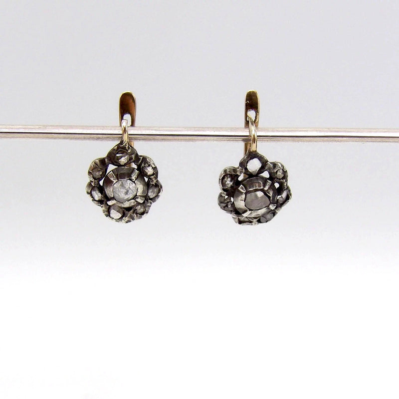 Georgian Silver Front Gold Back Day-Night Diamond Earrings earrings Kirsten's Corner Jewelry
