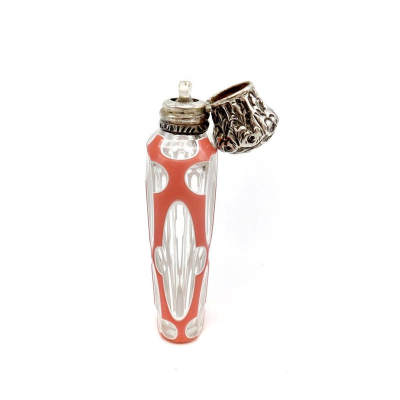 19th Century Bohemian Sandwich Glass Perfume Bottle with Silver Lid Objects of Virtue Kirsten's Corner Jewelry