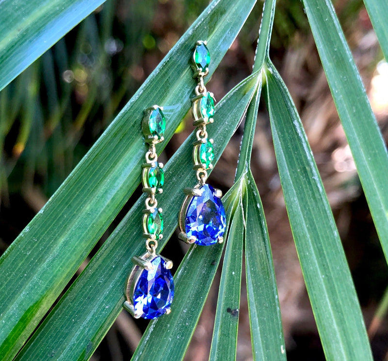 14K Gold Tanzanite and Tsavorite Garnet Drop Earrings Kirsten's Corner