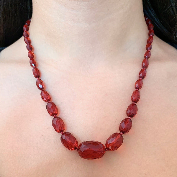 Cherry Amber 1920's Graduated Bakelite Bead Necklace Necklace Kirsten's Corner Jewelry