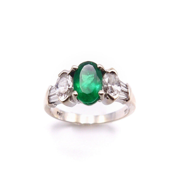 18 K White Gold, Emerald, and Diamond Ring RING Kirsten's Corner Jewelry