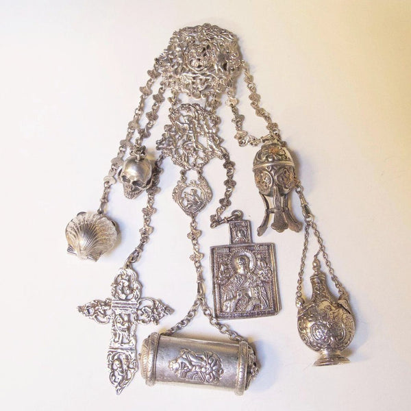 Sterling Silver Châtelaine with Quasi Religious Appendages - Kirsten's Corner Jewelry