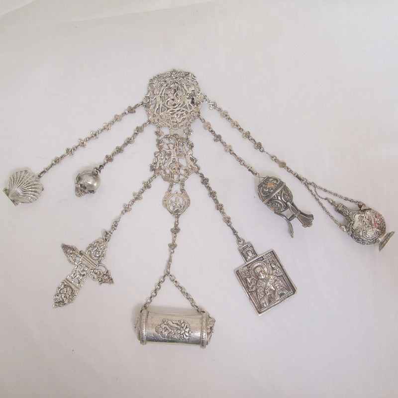 Sterling Silver Châtelaine with Quasi Religious Appendages Châtelaine Kirsten's Corner Jewelry