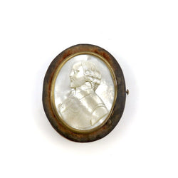 Carved Mother of Pearl Portrait and Velvet Oval Box, circa 1860 Objects of Virtue Kirsten's Corner Jewelry