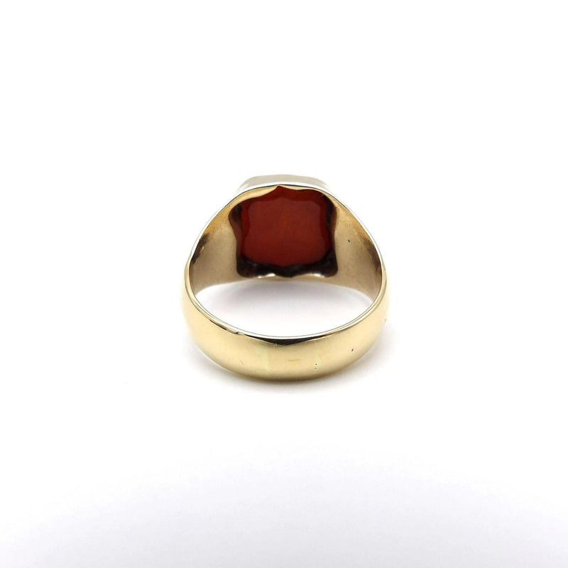 Victorian 14K Gold and Banded Agate Carved Intaglio Ring - Kirsten's Corner Jewelry