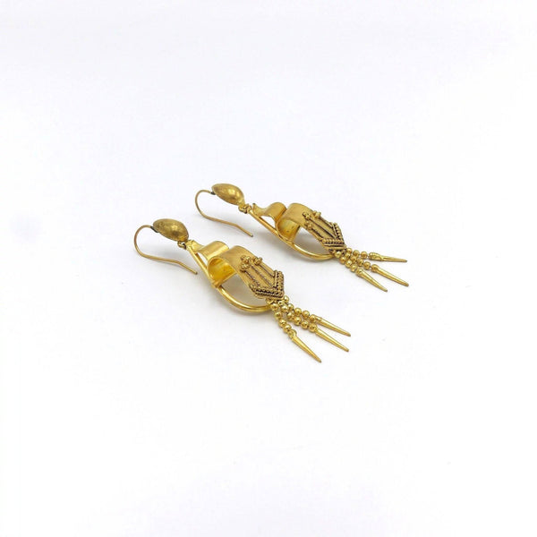 Victorian 18K Gold Filled Etruscan Revival Earrings - Kirsten's Corner Jewelry