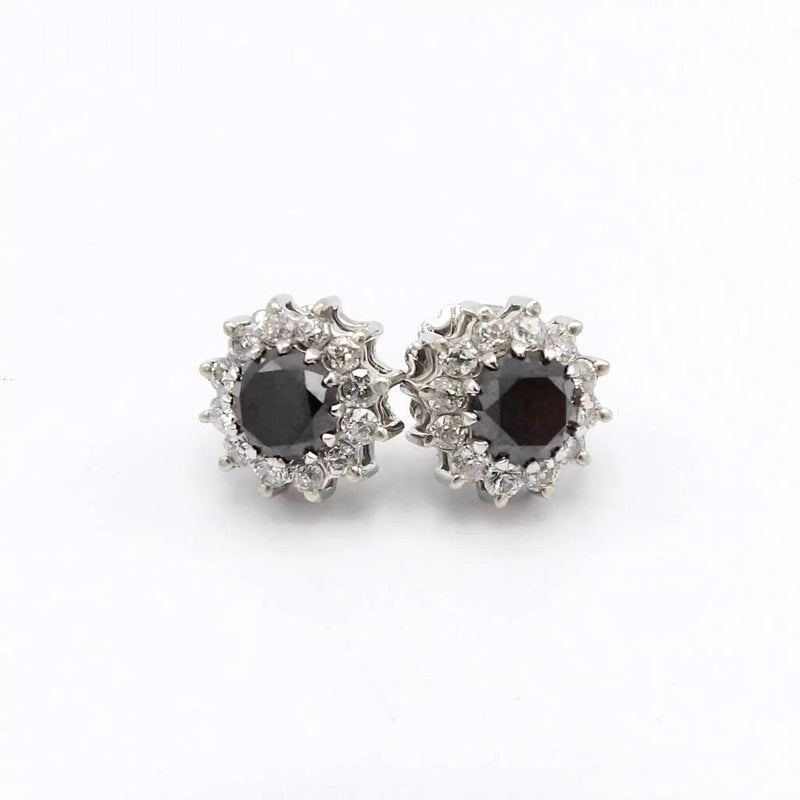 Vintage 18K White Gold Black Diamond and Diamond Halo Cocktail Earrings Earrings Kirsten's Corner Jewelry