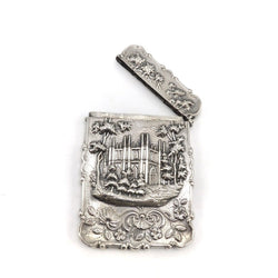 American Castle Top Coin Silver Calling Card Case by Leonard & Wilson, circa 1850 Objects of Virtue Kirsten's Corner Jewelry
