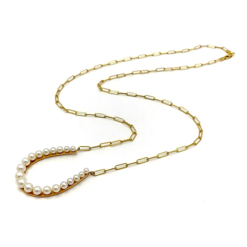 14K Gold Pearl Horseshoe Necklace with Paper Clip Chain Kirsten's Corner