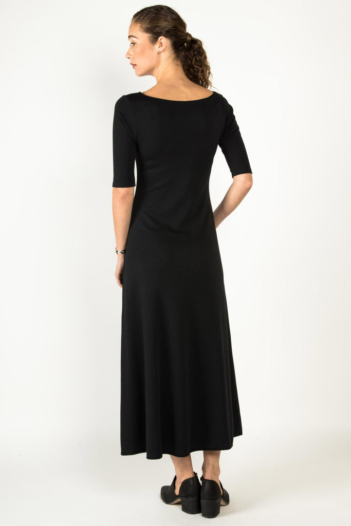 Womens Elbow Sleeve Boatneck Dress | Black | Organic Cotton Clothing