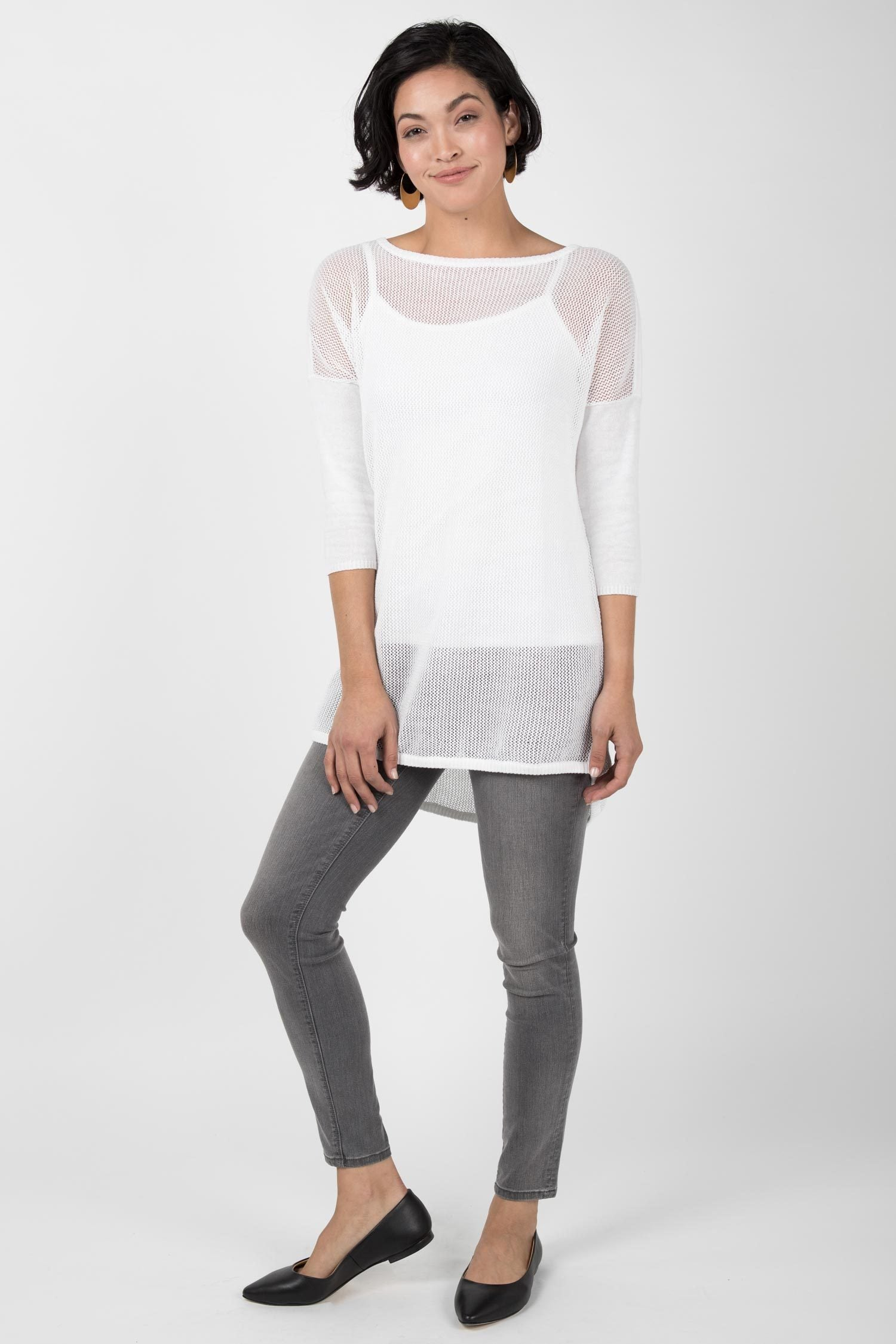 Womens Knit Mesh Top | Lightweight Organic Cotton Sweater | White