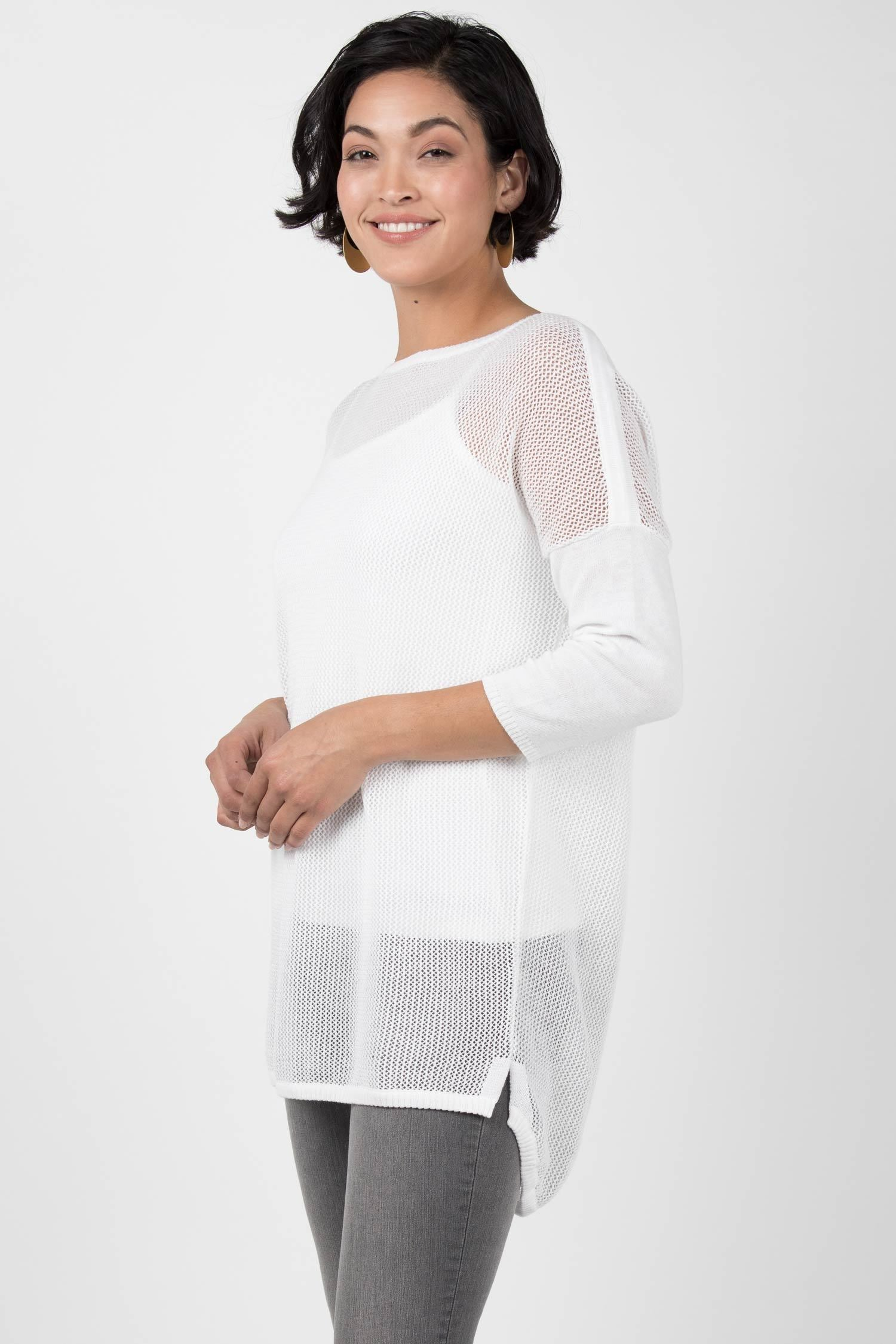 Womens Knit Mesh Pullover Sweater | Organic Cotton Sweater | White
