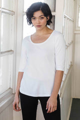 Womens Organic Cotton Top | White Scoop Neck Tee | Indigenous
