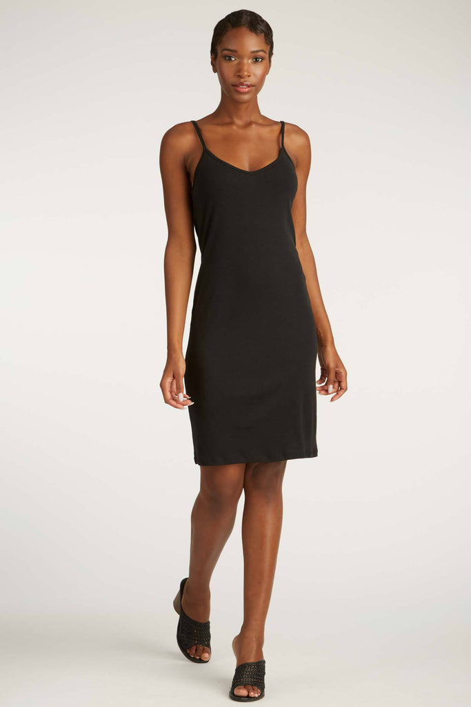 womens dress black lbd | organic cotton rib slip dress | sustainable fashion