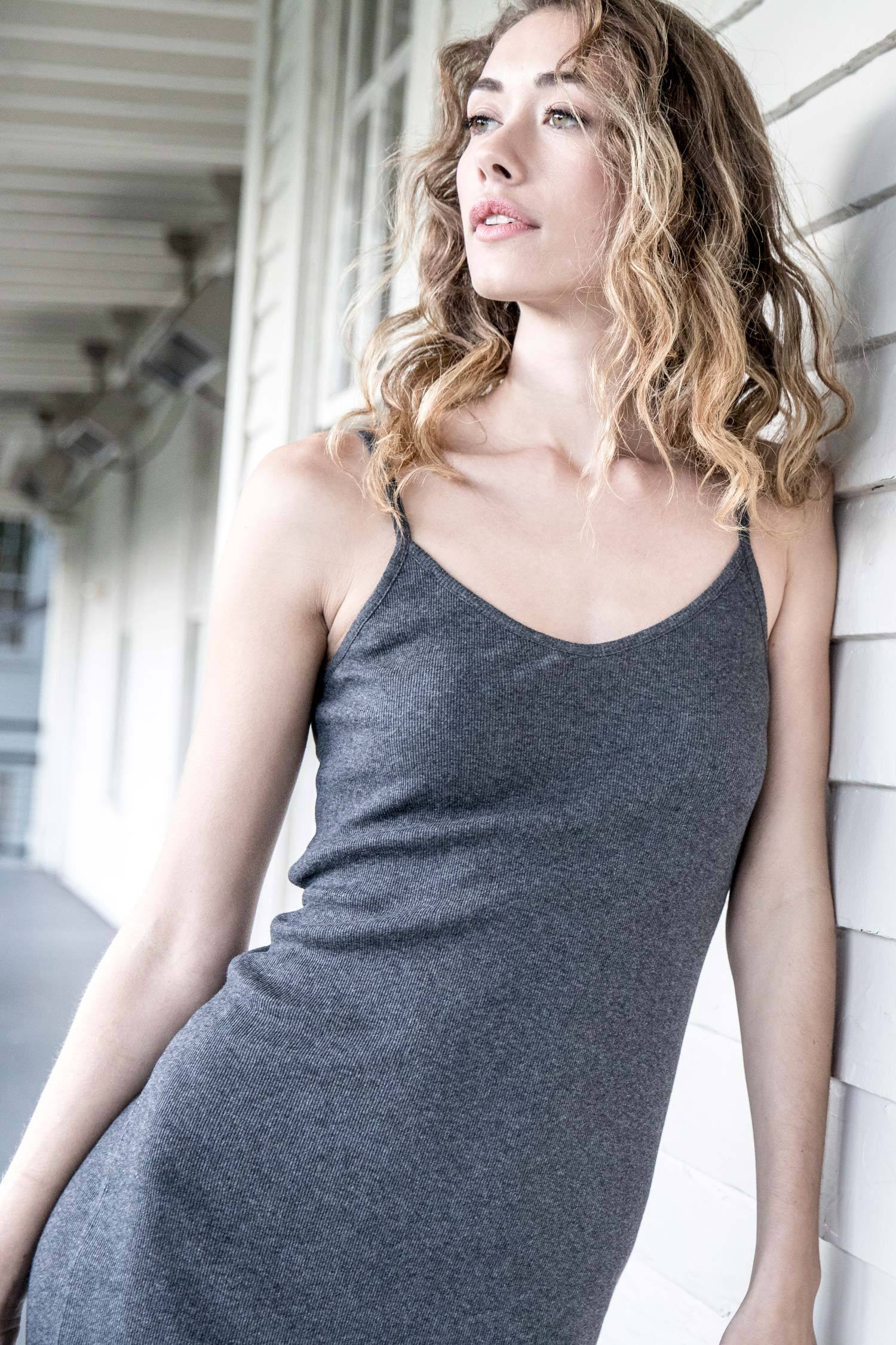 Womens Slip Dress | Gray | Organic Cotton Rib Fabric | Sustainable Fashion Styles
