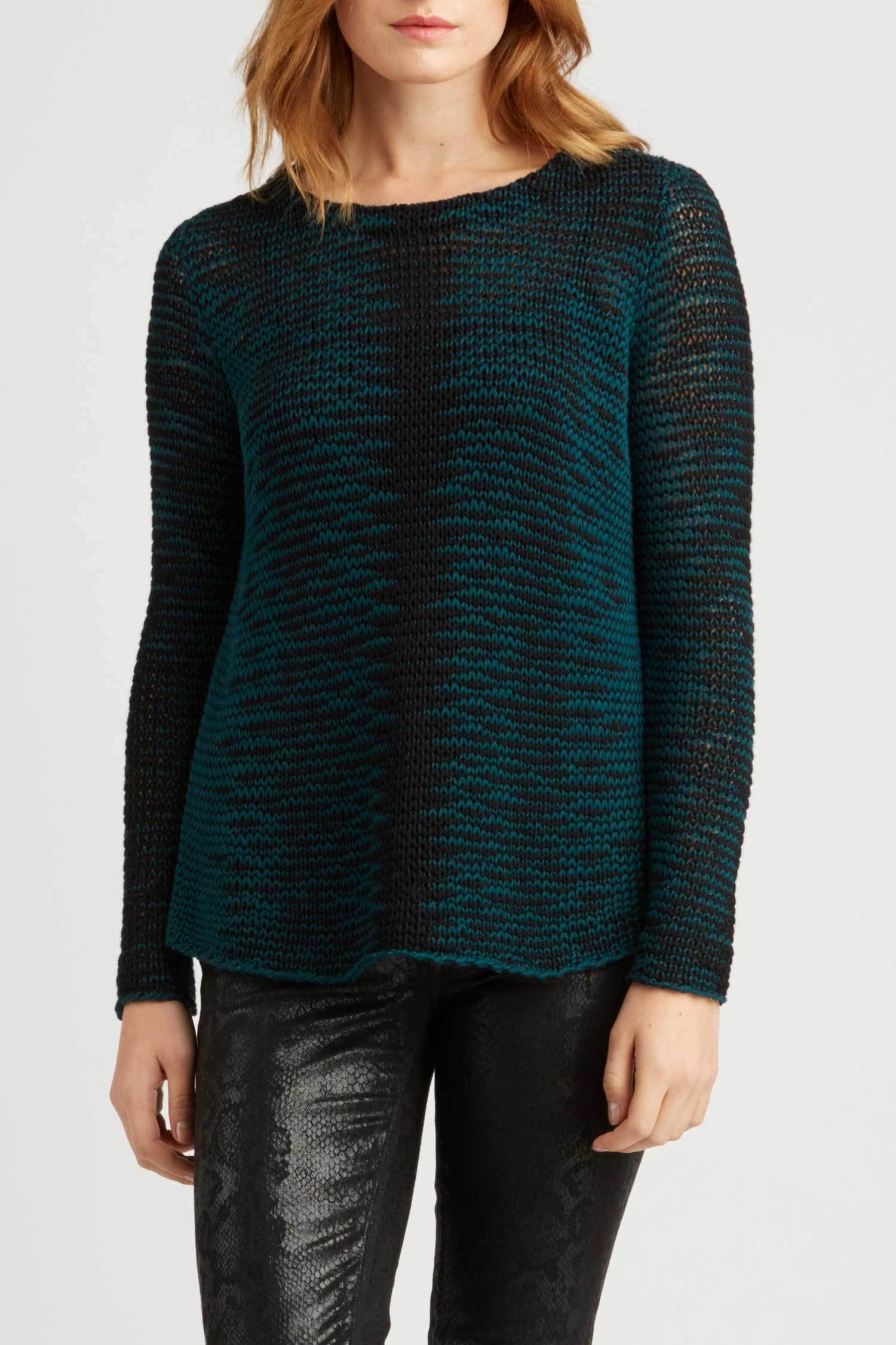 Womens Teal and Black Patterned Knit Sweater | Organic Cotton