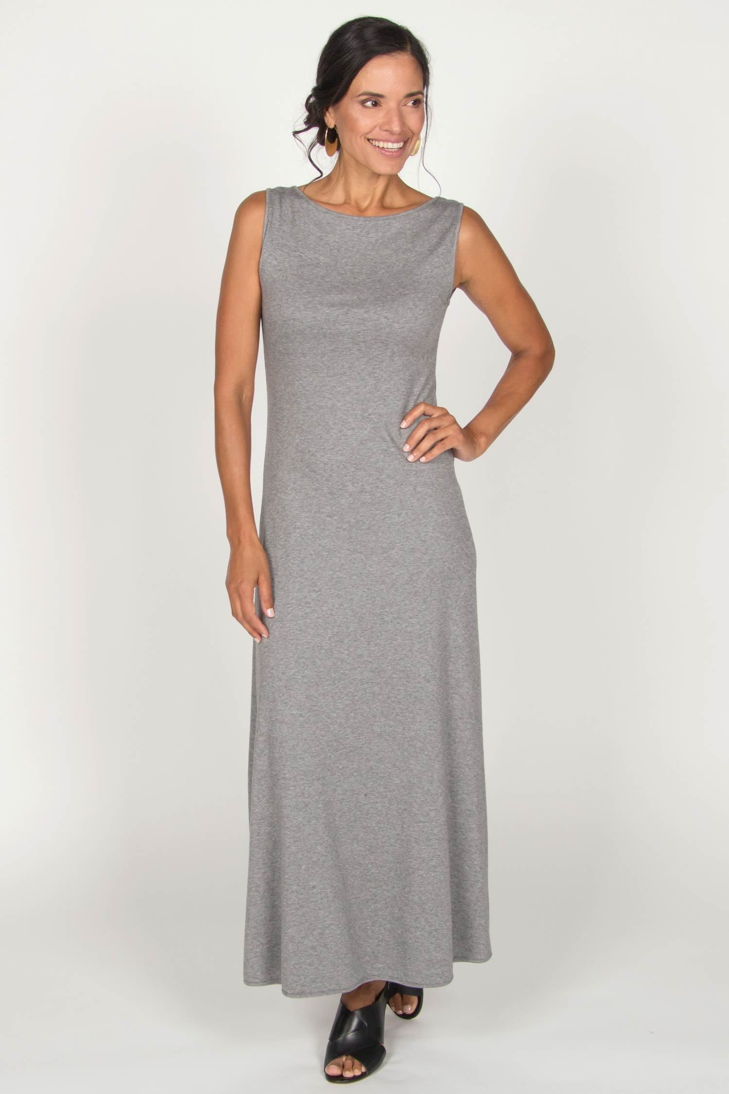 Womens Boatneck Maxi Dress in Gray | Slow Fashion