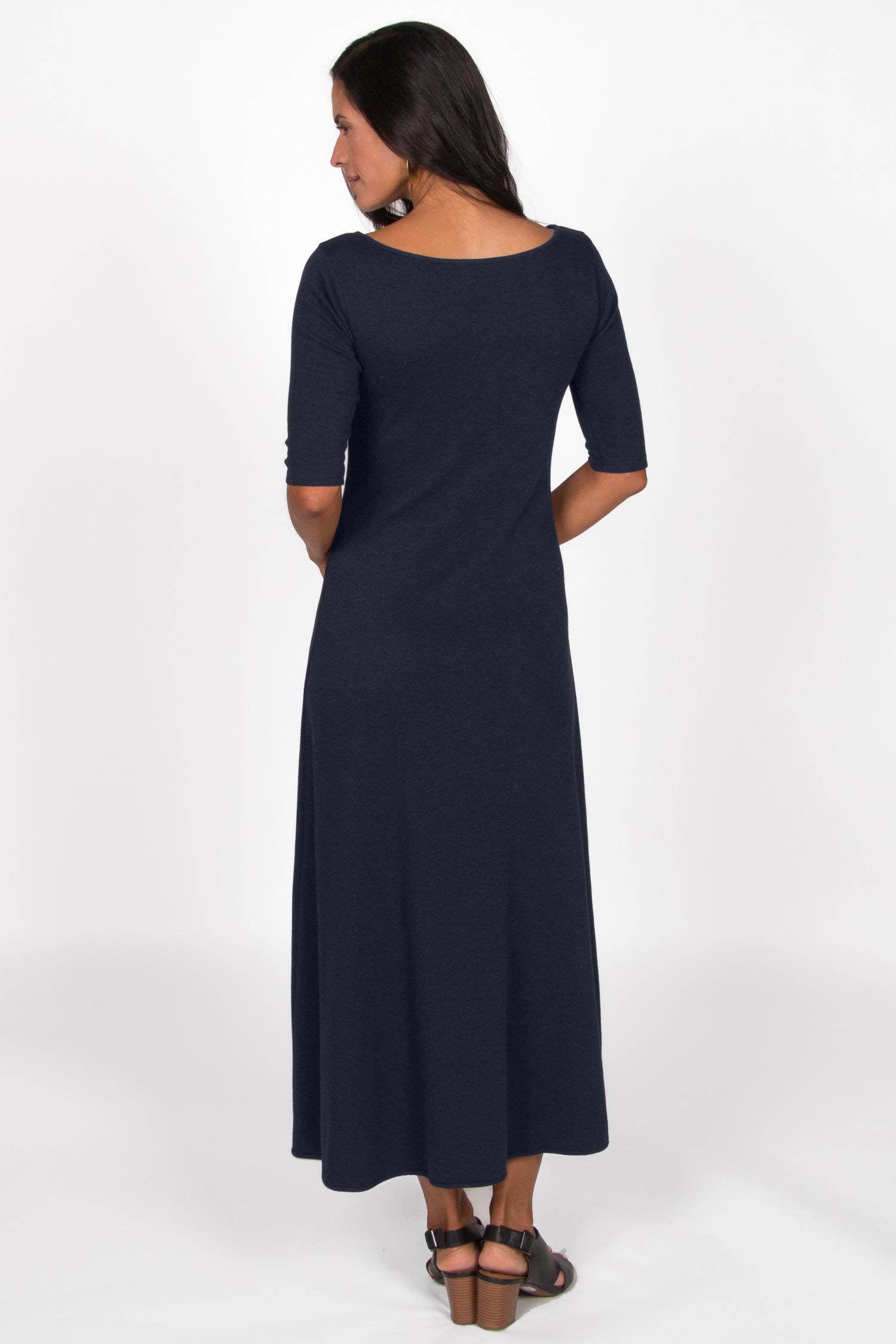 Womens Elbow Sleeve Boatneck Dress | Navy | Organic Cotton Clothing