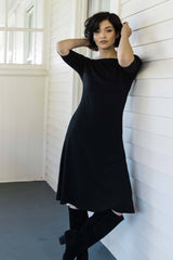 Womens Organic Cotton Dress - Essential Boatneck Midi Dress - Brown