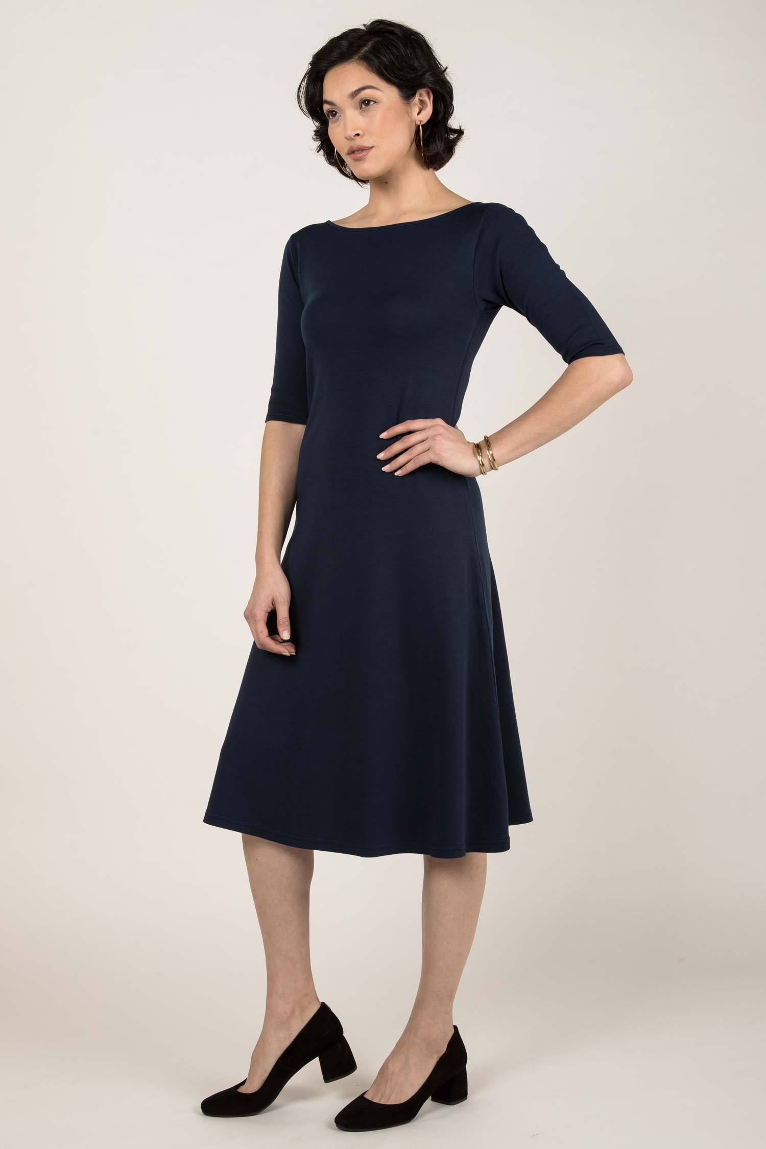 Womens Organic Cotton Dress - Essential Boatneck Midi Dress - Navy