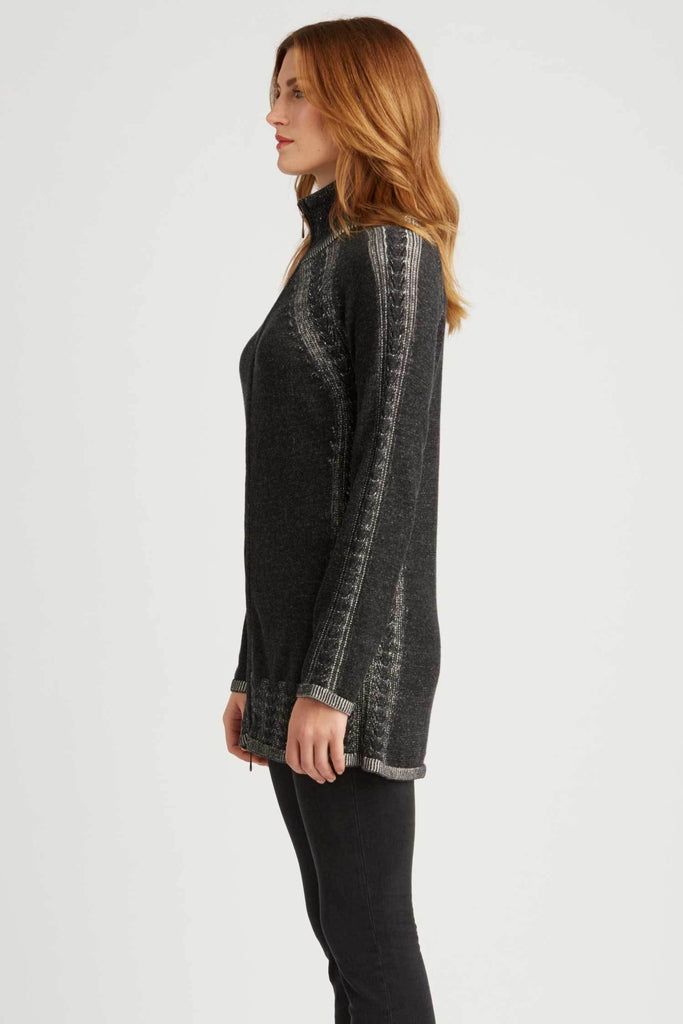 Womens Organic Cotton Sweater | Black | Cable Zip Cardigan