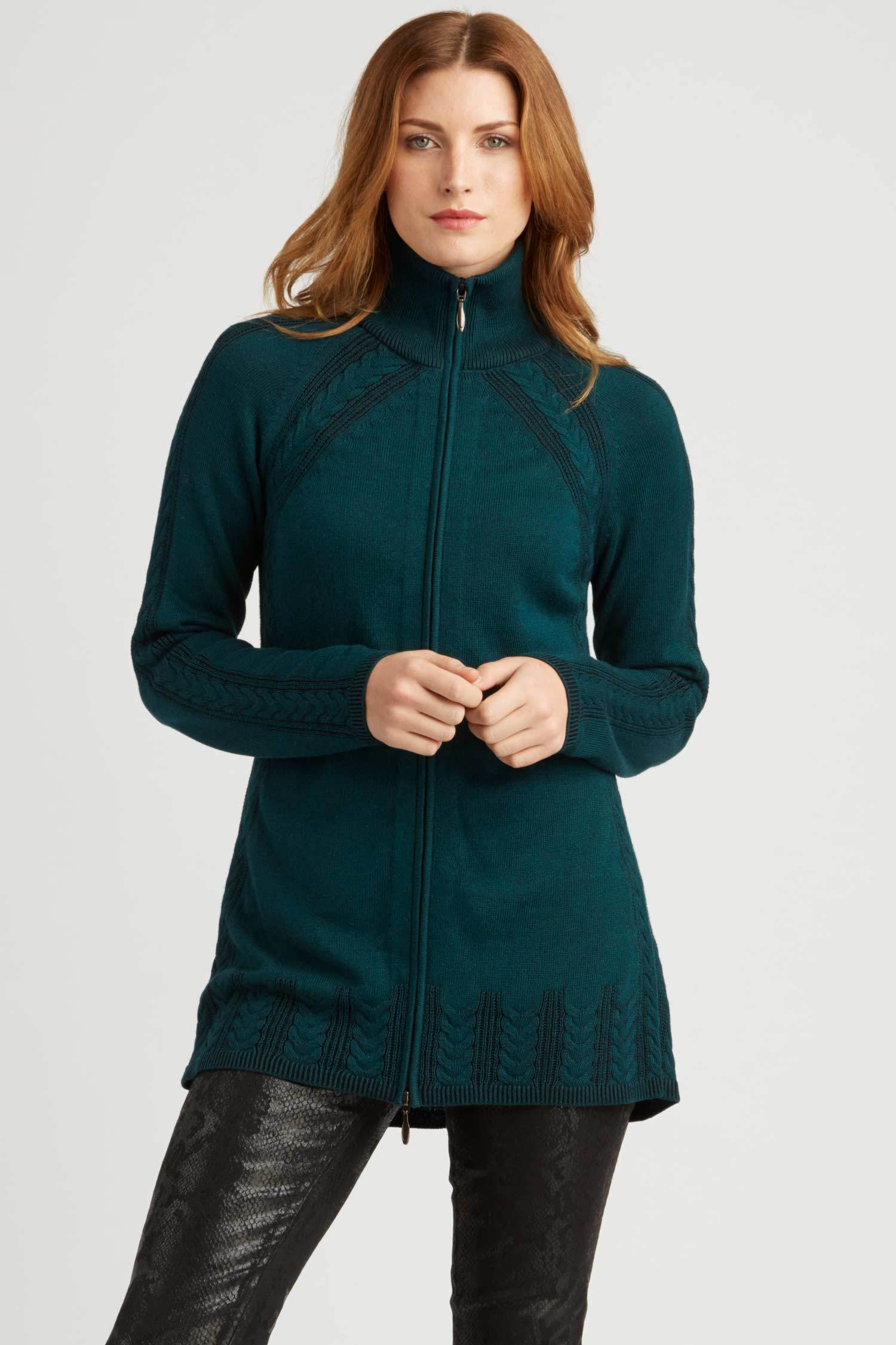 Womens Organic Cotton Sweater | Teal | Cable Zip Cardigan