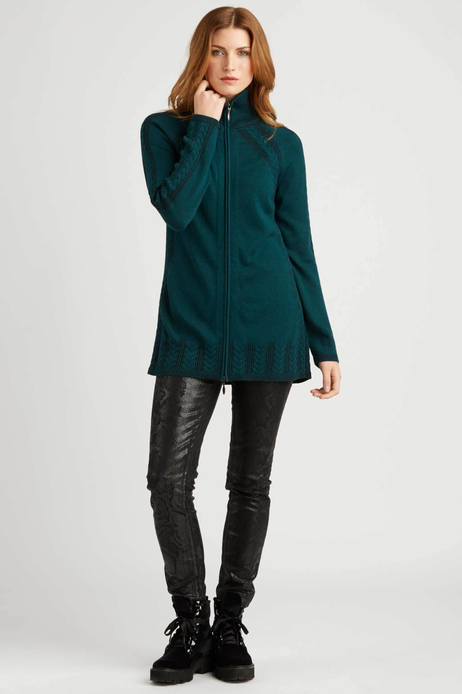 Womens Organic Cotton Sweater | Jade | Cable Zip Cardigan