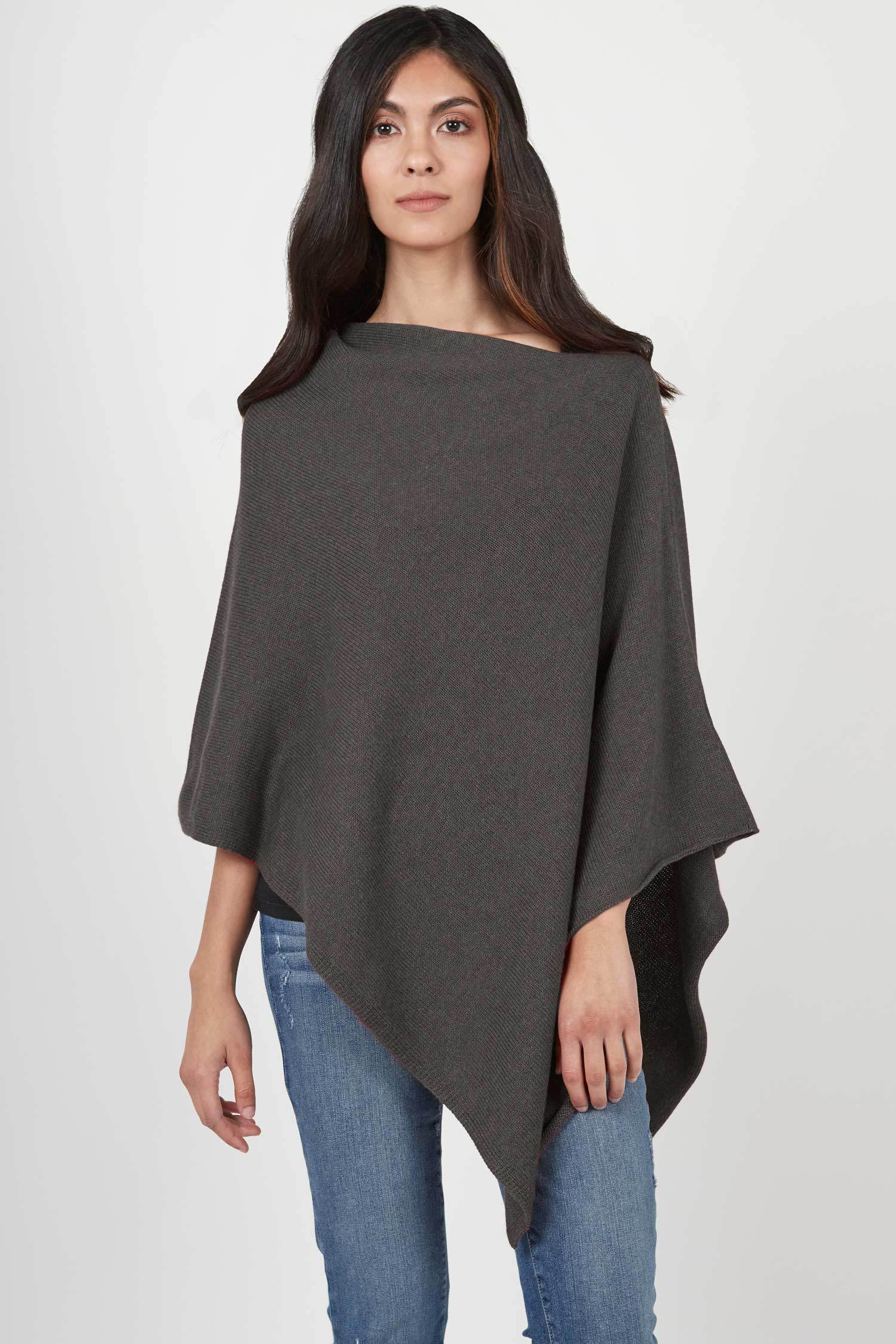 Organic Cotton Poncho for Women | Essential Knit Poncho | Charcoal Gray