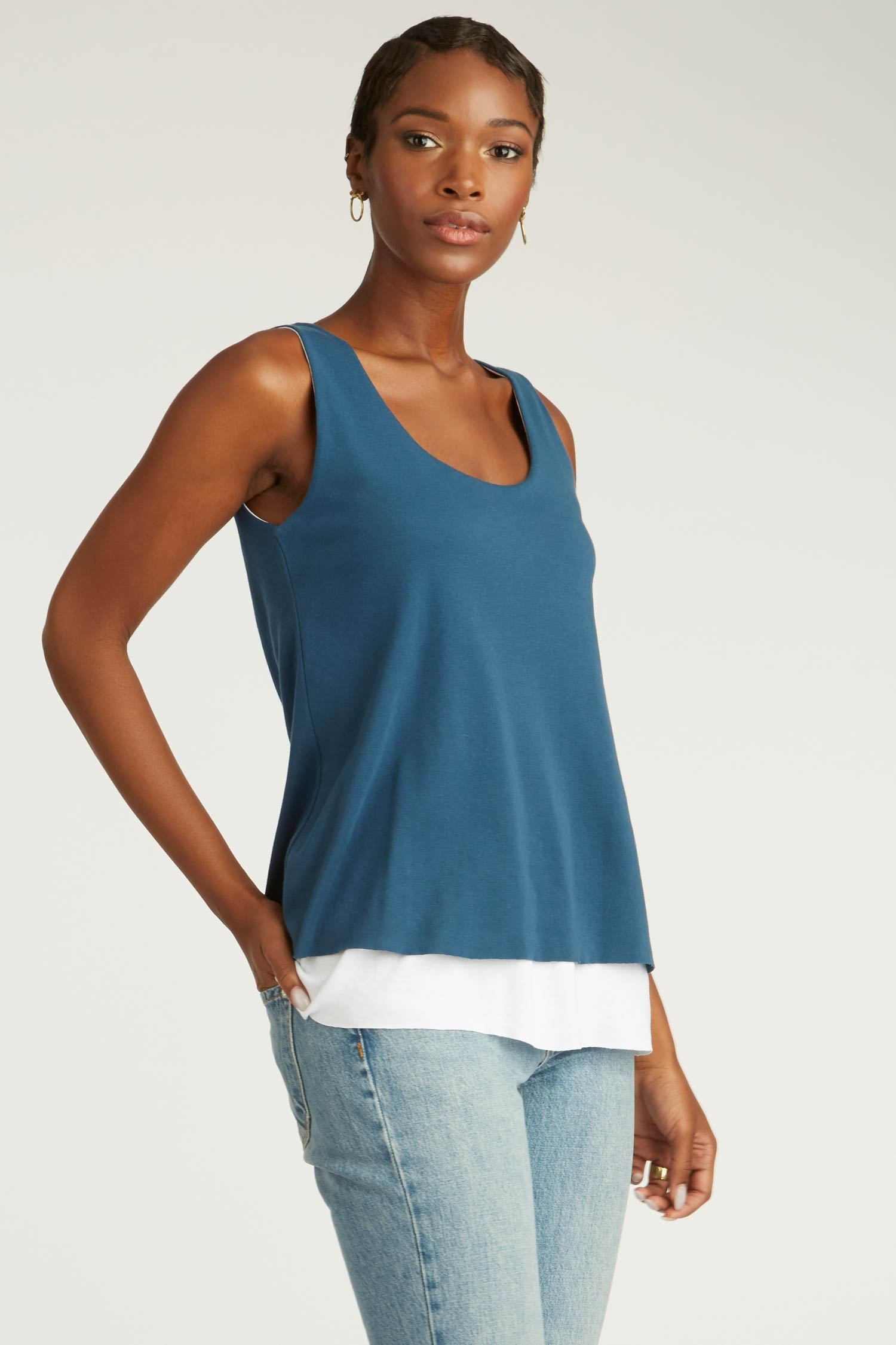 Womens Organic Cotton Top | Double Layer Tank | Blue White