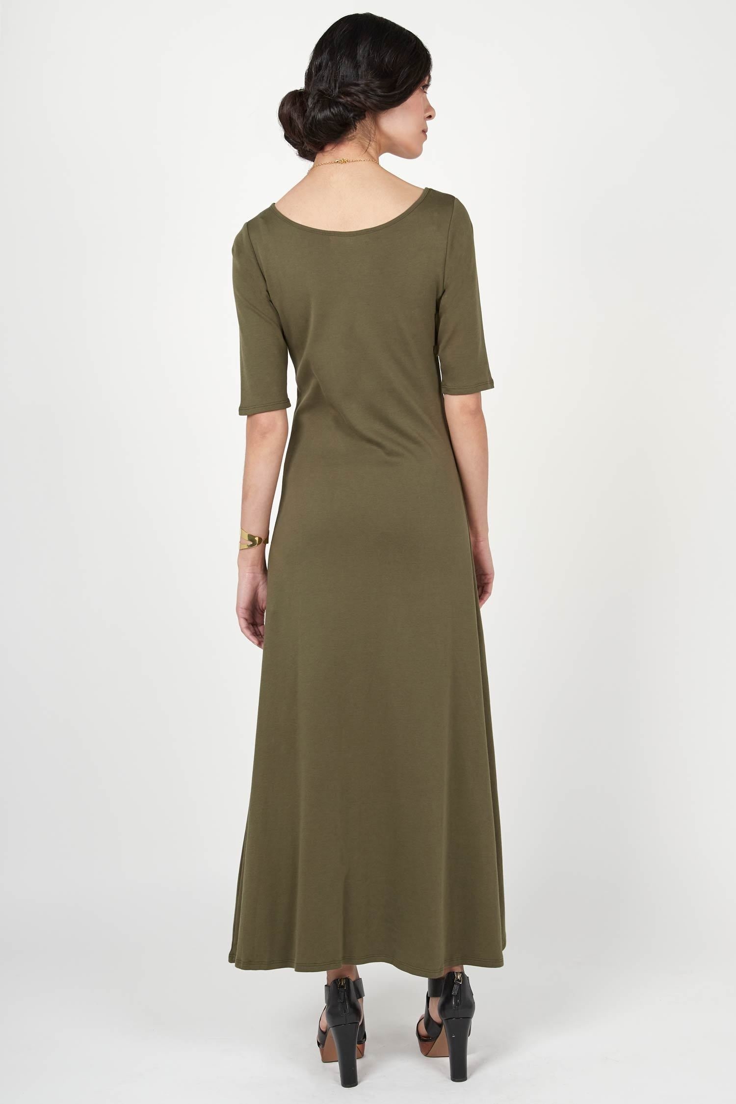 Elbow Sleeve Boatneck Dress
