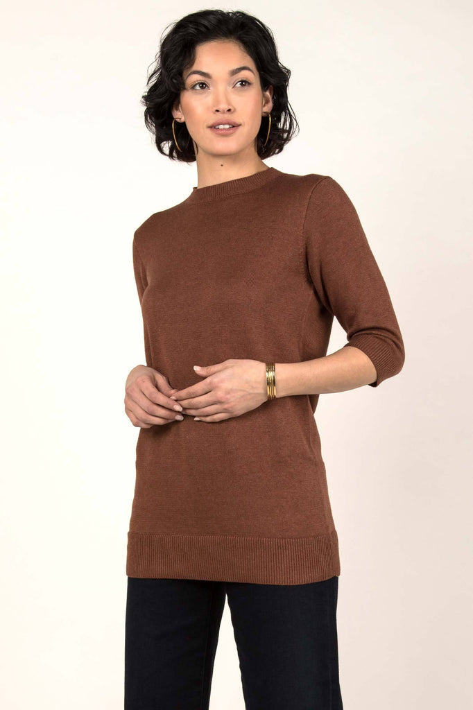 Womens Organic Cotton Top | Knit Elbow Sleeve Tunic Sweater | Cayenne Brown