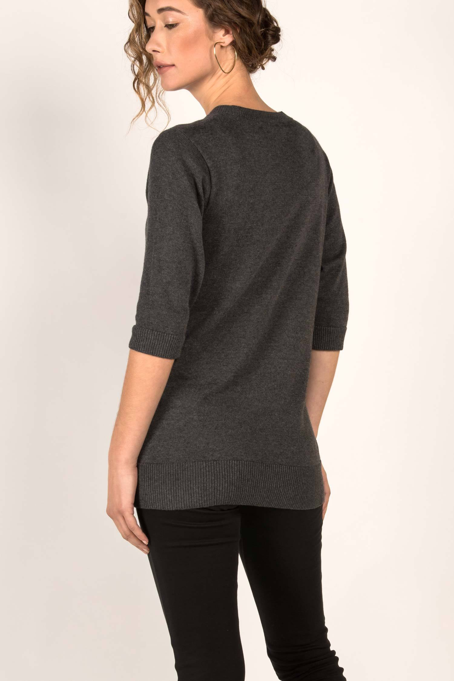Womens Organic Cotton Top | Knit Elbow Sleeve Tunic Sweater | Charcoal Gray