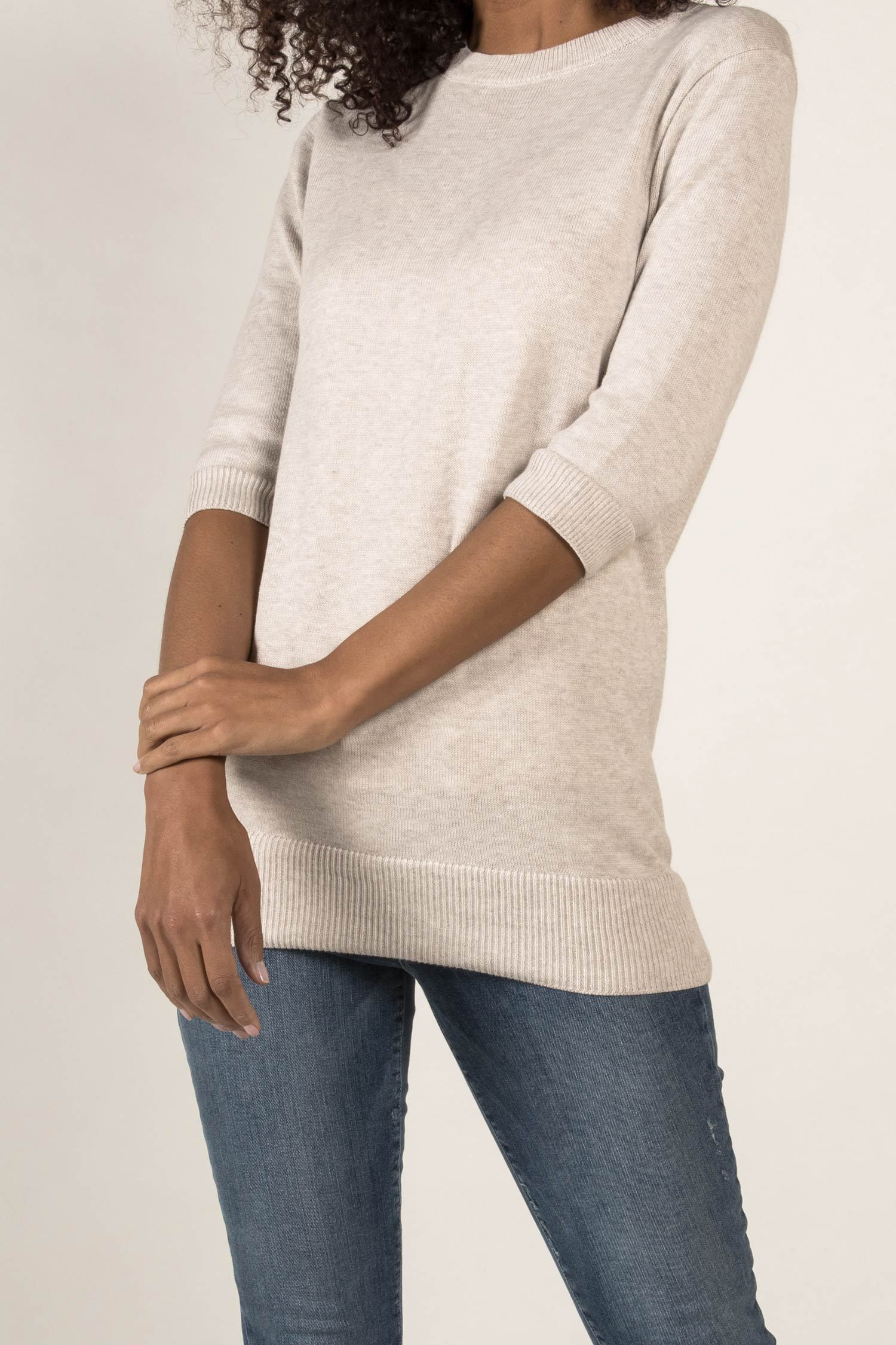 Womens Organic Cotton Top | Knit Elbow Sleeve Tunic Sweater | Oatmeal White