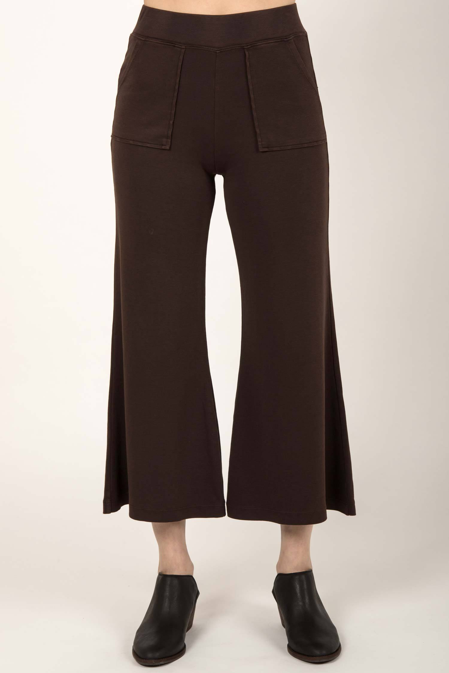 Womens organic cotton pants | Cropped Wide Leg Pant | Brown
