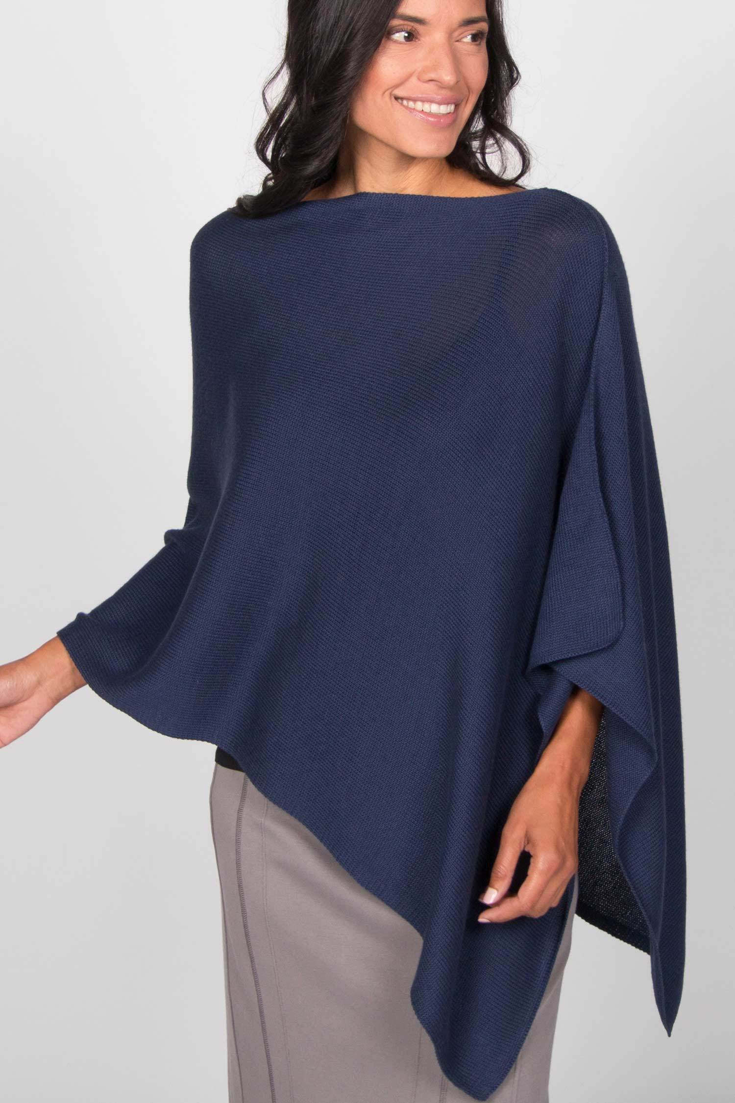 Knit Poncho for Women in Indigo Blue | Organic Cotton Clothing