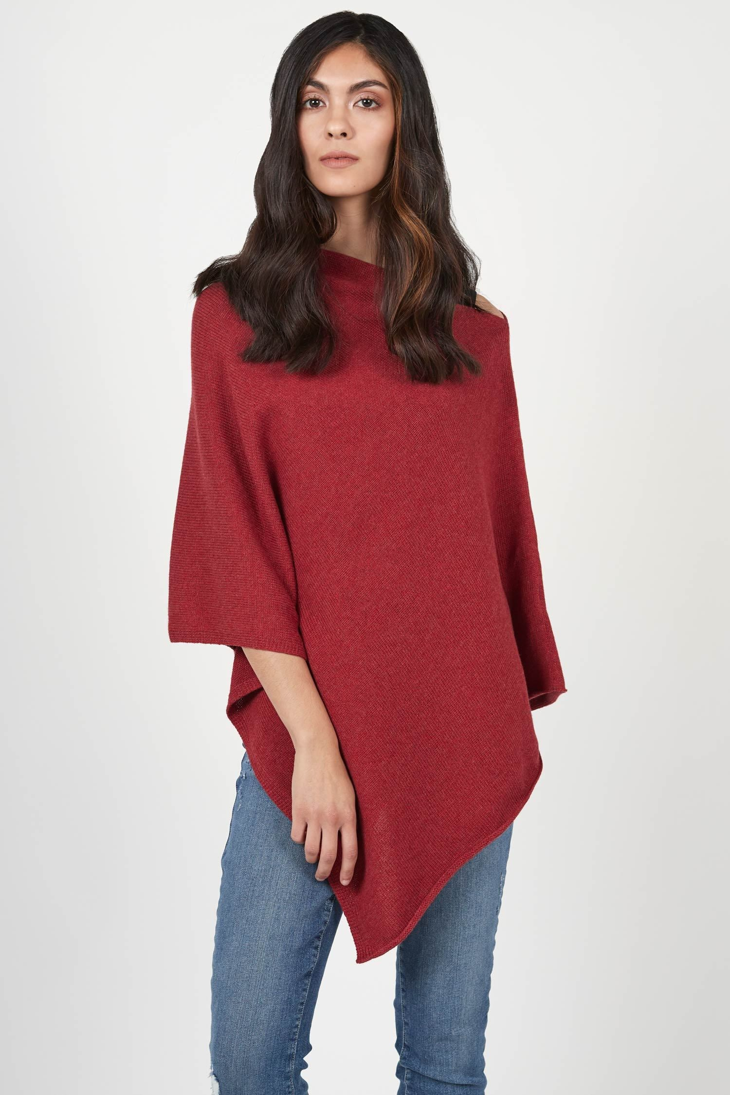 Womens Knit Poncho Ruby Red | Organic Cotton Clothing for Women