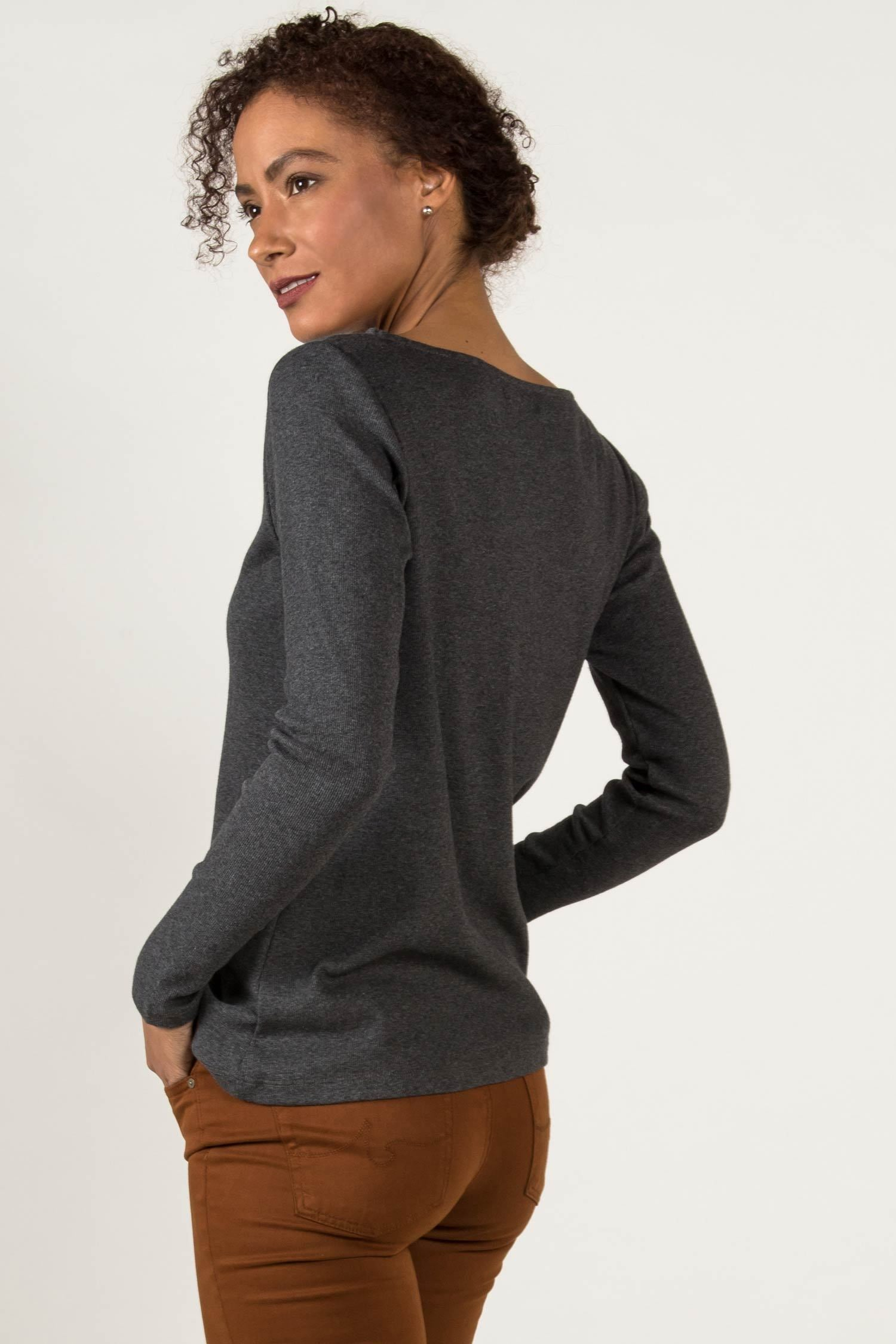 Womens Organic Cotton Top | Gray Long Sleeve Boatneck Tee | Indigenous