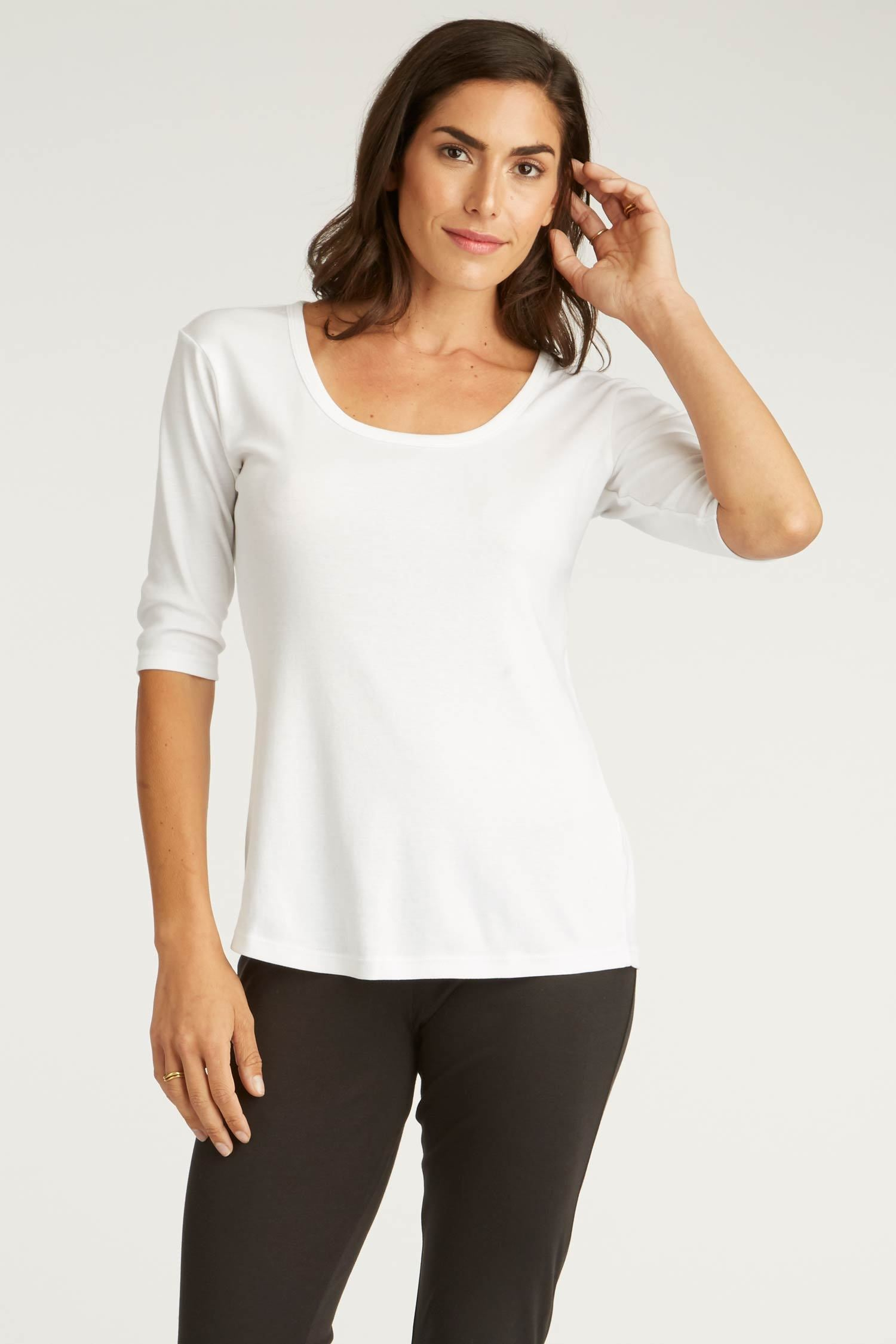 Womens Organic Cotton Top | White Scoop Neck Tee by Indigenous