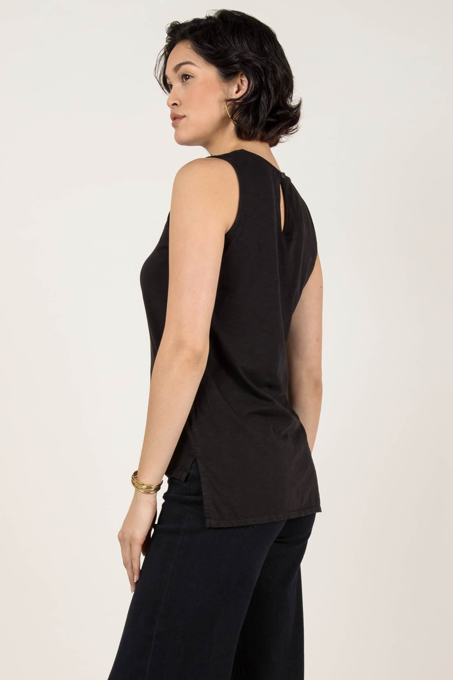 Womens Organic Cotton Tank Top | Essential Slub Shell Blouse | Black