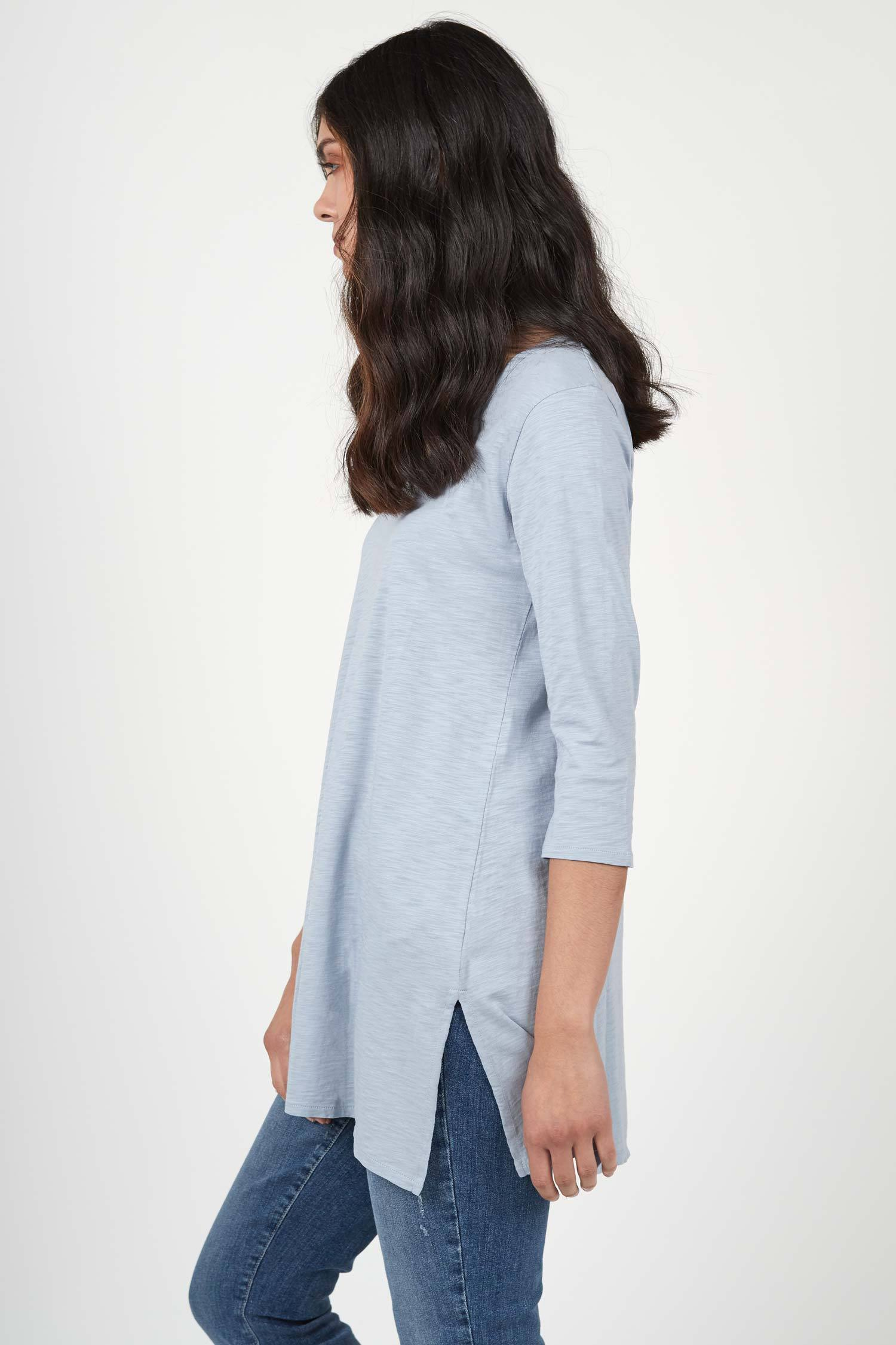 Womens organic cotton tunic top | Blue Fog | Indigenous