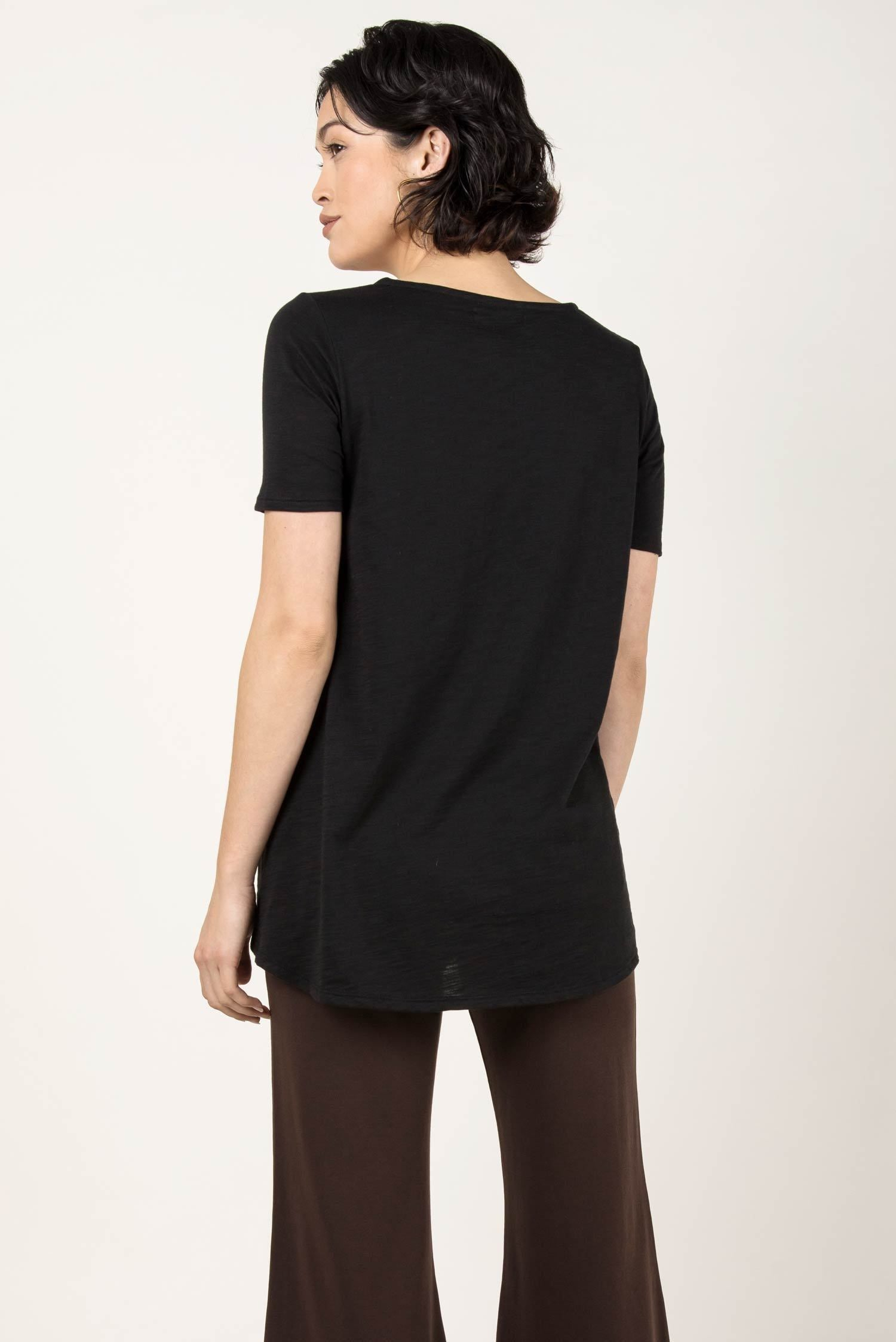 Womens Organic Cotton Tee Shirt | Essential Slub U Neck Top | Black